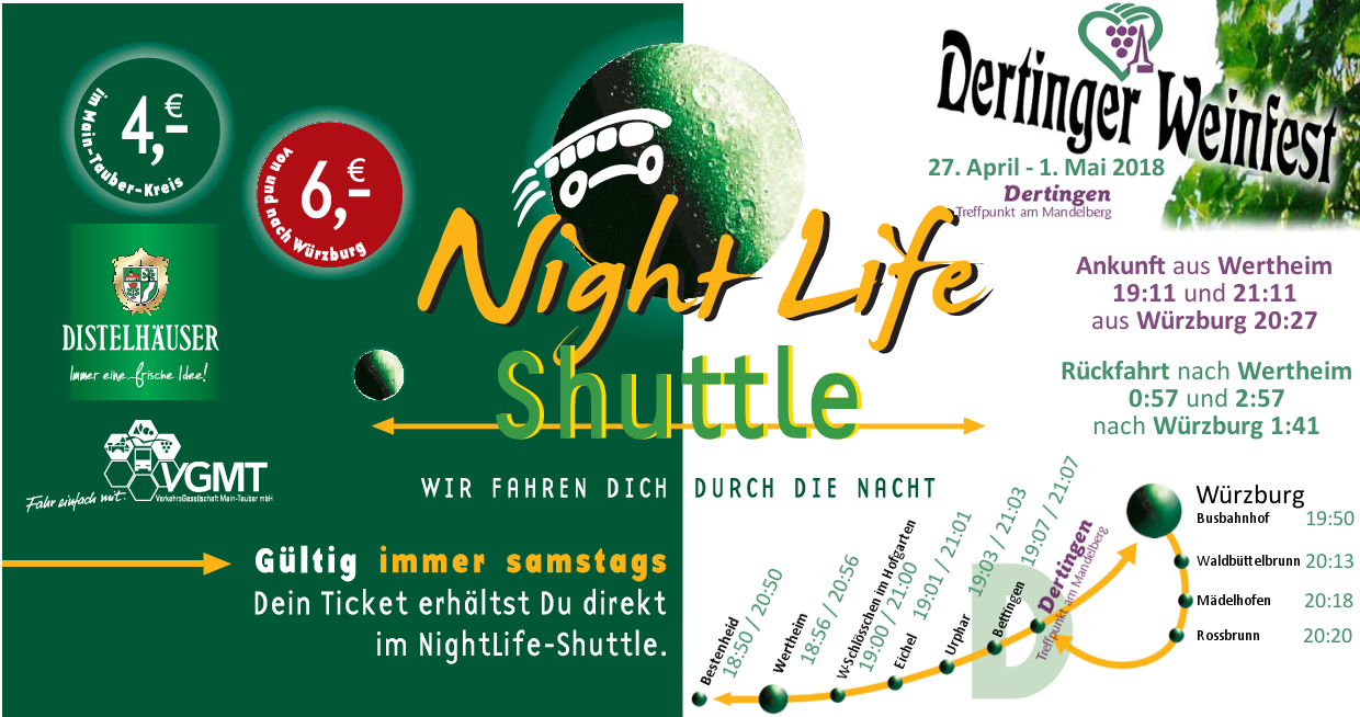 Nightlife Shuttle Fahrplan Dertinger Weinfest