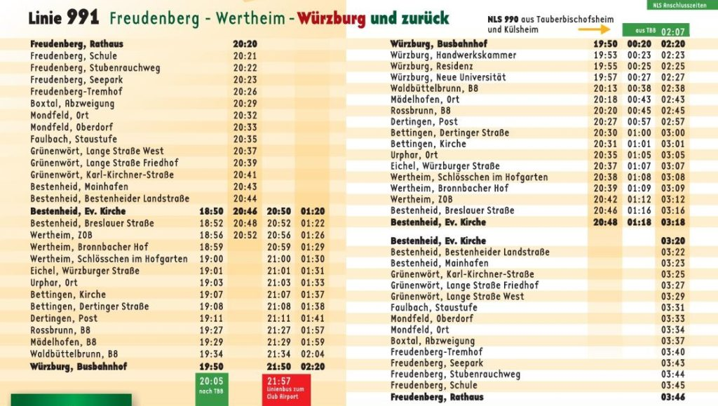 Nightlife Shuttle Fahrplan Details